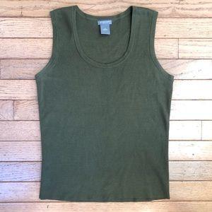 Ann Taylor Silk Olive Green Basic Tank